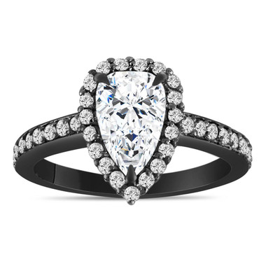 Pear Shaped Moissanite Engagement Ring, 1.75 Carat Halo Bridal Ring, 14k Black Gold Unique Handmade Certified