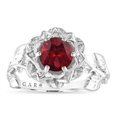 1.20 Carat Garnet Engagement Ring, Rose Flower Ring, Unique Floral Leaf Anniversary Ring, 14K White Gold Handmade Certified