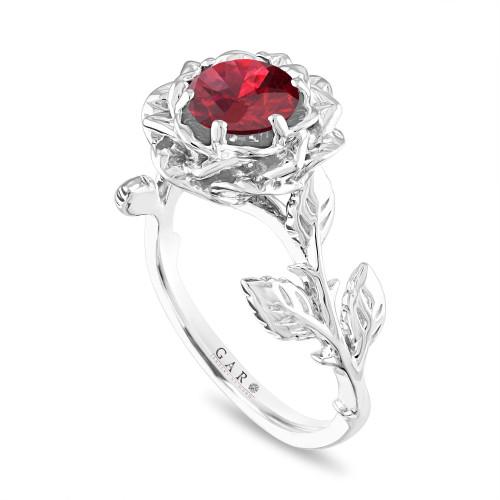 1.20 Carat Garnet Engagement Ring, Rose Flower Ring, Unique Floral Leaf Platinum Handmade Certified