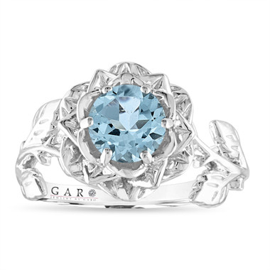 Floral Aquamarine Engagement Ring, Rose Flower Ring, Unique Leaf 1 Carat Platinum 14K White Gold or Rose Gold Handmade