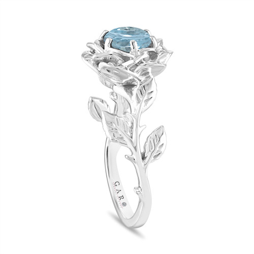 Floral Aquamarine Engagement Ring, Rose Flower Ring, Unique Leaf 1 Carat Platinum Handmade