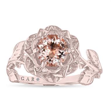 Morganite Floral Engagement Ring, Rose Flower Ring, Unique Leaf 1 Carat 14K White Gold or Rose Gold Handmade
