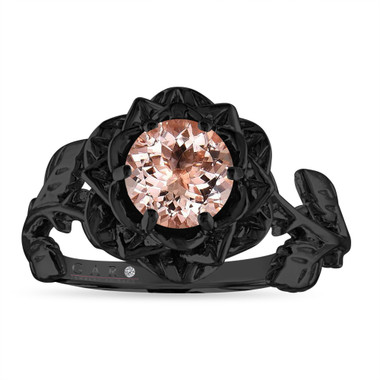 Morganite Floral Engagement Ring, Rose Flower Ring, Unique Leaf 1 Carat 14K Black Gold Handmade