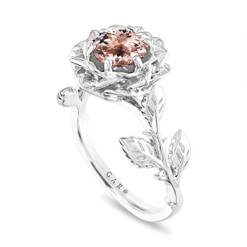 Morganite Floral Engagement Ring, Rose Flower Ring, Unique Leaf 1 Carat Platinum Handmade