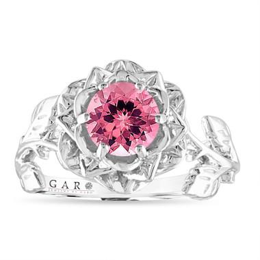 Floral Pink Tourmaline Engagement Ring, Rose Flower Ring, Unique 1.00 Carat 14K White Gold or Rose Gold Handmade