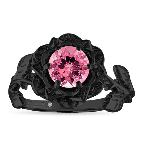 Floral Pink Tourmaline Engagement Ring, Rose Flower Ring, Unique 1.00 Carat 14K Black Gold Handmade