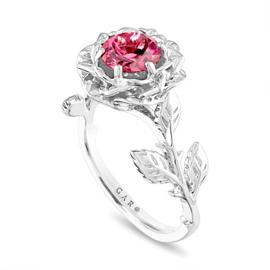 Floral Pink Tourmaline Engagement Ring, Rose Flower Ring, Unique 1.00 Carat Platinum Handmade