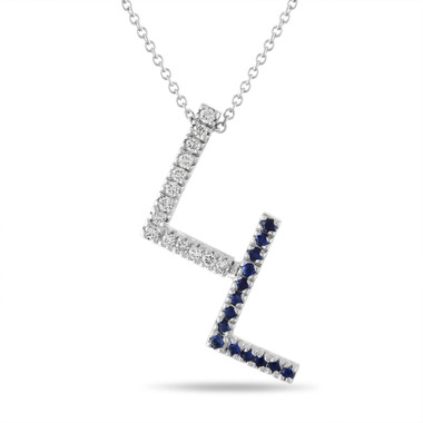 Diamond and Sapphire Initial Pendant Necklace, Unique Letter Necklace, 14k White Gold or Yellow Gold, Pave 0.53 Carat Handmade