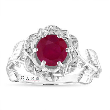 Ruby Floral Engagement Ring, Rose Flower Ruby Ring, Unique Leaf 1.20 Carat 14K White Gold Handmade Certified