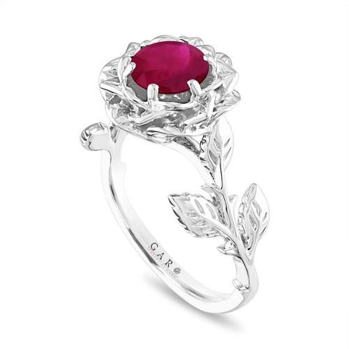 Ruby Floral Engagement Ring, Rose Flower Ruby Ring, Unique Leaf 1.20 Carat Platinum Handmade Certified