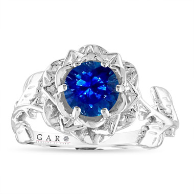 Sapphire Flower Engagement Ring, Rose Floral Ring, Unique Leaf 1.20 Carat 14K White Gold Handmade Certified