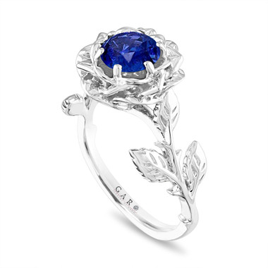 Sapphire Flower Engagement Ring, Rose Floral Ring, Unique Leaf 1.20 Carat Platinum Handmade Certified