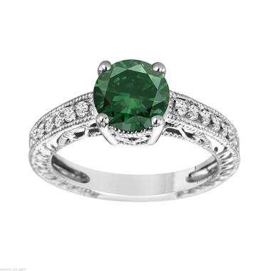 1.69 Carat Green Diamond Engagement Ring Vintage Style 14K White Gold Certified Handmade Vintage Style