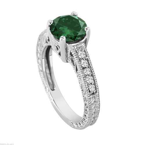 1.69 Carat Green Diamond Engagement Ring Vintage Style Platinum Certified Handmade Vintage Style