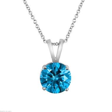 2.00 Carat Blue Diamond Solitaire Pendant 14K White Gold Anniversary Gift, Certified Handmade