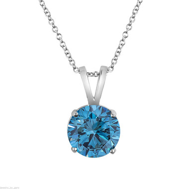 1 Carat VS2 Blue Diamond Pendant, Solitaire Necklace Platinum Certified Handmade