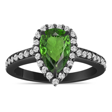 1.75 Carat Green Tourmaline Engagement Ring, Pear Shaped Diamond Engagement Ring 14K Black Gold Certified Handmade