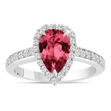 1.75 Carat Pink Tourmaline Engagement Ring, Pear Shaped Engagement Ring, Platinum Certified Handmade