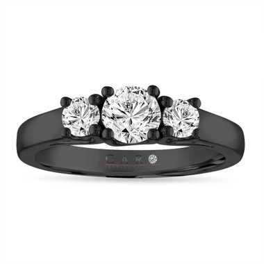 0.80 Carat Three Stone Diamond Engagement Ring, 14K Black Gold Certified Handmade
