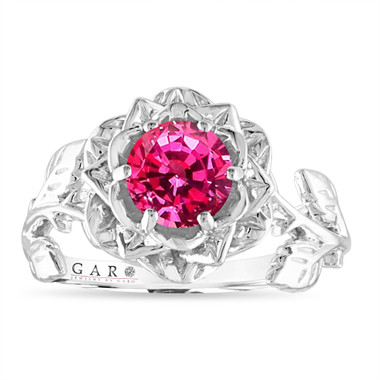 Pink Sapphire Flower Engagement Ring, Rose Floral Ring, Unique 1.08 Carat 14K White Gold Handmade Certified