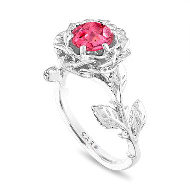 Pink Sapphire Flower Engagement Ring, Rose Floral Ring, Unique 1.08 Carat Platinum Handmade Certified