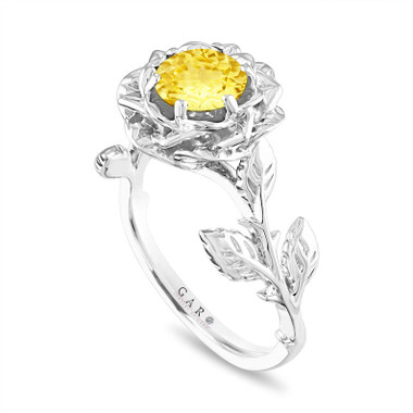 Yellow Sapphire Floral Engagement Ring, Rose Flower Ring, Unique 1.02 Carat Platinum Handmade Certified