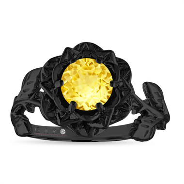 Yellow Sapphire Floral Engagement Ring, Rose Flower Ring, Unique 1.02 Carat 14K Black Gold Handmade Certified
