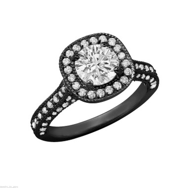 1.85 Carat Diamond Engagement Ring, GIA Certified Micro Pave Vintage Style 14K Black Gold Handmade