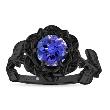 Tanzanite Flower Engagement Ring, Rose Floral Ring, Unique 1.07 Carat 14K Black Gold Handmade