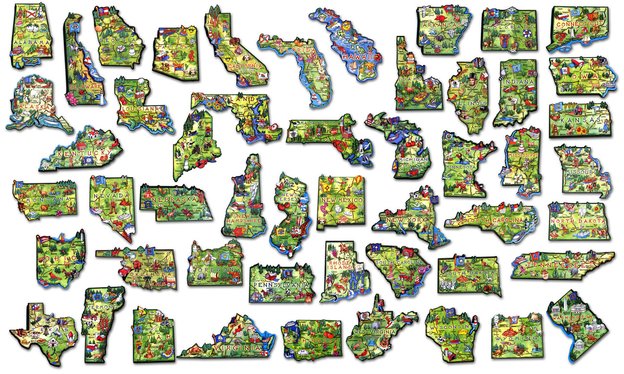 United States Map Magnets.50 State Artwood Magnet Set Classicmagnets Com