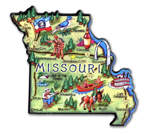 Detail of Missouri magnet included in set.