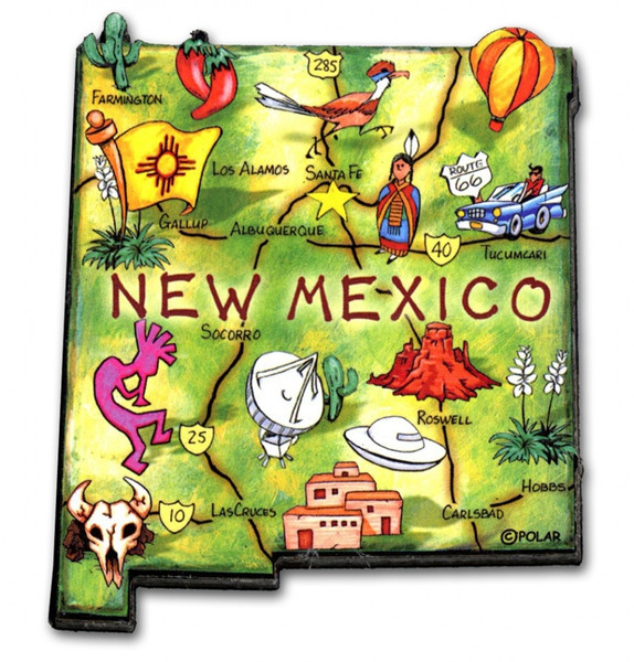 Detail of New Mexico magnet included in set.