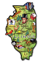 Illinois Artwood State Magnet Collectible Souvenir by Classic Magnets
