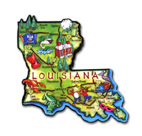 Louisiana Artwood State Magnet Collectible Souvenir by Classic Magnets