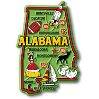 """Alabama Colorful State Magnet by Classic Magnets, 2.4"""" x 3.6"""", Collectible Souvenirs Made in the USA"""