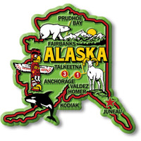 """Alaska Colorful State Magnet by Classic Magnets, 3.5"""" x 3.3"""", Collectible Souvenirs Made in the USA"""