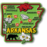 """Arkansas Colorful State Magnet by Classic Magnets, 3"""" x 2.8"""", Collectible Souvenirs Made in the USA"""