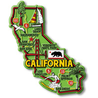 """California Colorful State Magnet by Classic Magnets, 3.3"""" x 4"""", Collectible Souvenirs Made in the USA"""