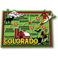 """Colorado Colorful State Magnet by Classic Magnets, 3.2"""" 2.3"""", Collectible Souvenirs Made in the USA"""