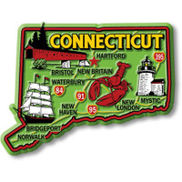 """Connecticut Colorful State Magnet by Classic Magnets, 3.6"""" x 2.7"""", Collectible Souvenirs Made in the USA"""
