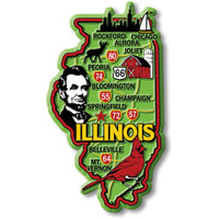 """Illinois Colorful State Magnet by Classic Magnets, 2.3"""" x 4"""", Collectible Souvenirs Made in the USA"""