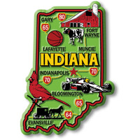 """Indiana Colorful State Magnet by Classic Magnets, 2.5"""" x 3.6"""", Collectible Souvenirs Made in the USA"""