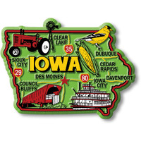 """Iowa Colorful State Magnet by Classic Magnets, 3.4"""" x 2.6"""", Collectible Souvenirs Made in the USA"""