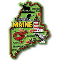 """Maine Colorful State Magnet by Classic Magnets, 2.7"""" x 3.8"""", Collectible Souvenirs Made in the USA"""