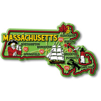 """Massachusetts Colorful State Magnet by Classic Magnets, 4.4"""" x 2.5"""", Collectible Souvenirs Made in the USA"""