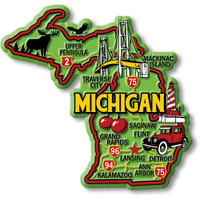 """Michigan Colorful State Magnet by Classic Magnets, 3.6"""" x 3.4"""", Collectible Souvenirs Made in the USA"""