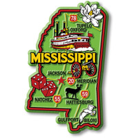"""Mississippi Colorful State Magnet by Classic Magnets, 2.4"""" x 3.7"""", Collectible Souvenirs Made in the USA"""