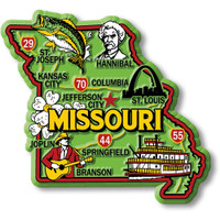 """Missouri Colorful State Magnet by Classic Magnets, 3.3"""" x 3"""", Collectible Souvenirs Made in the USA"""