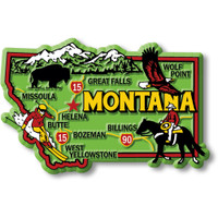 """Montana Colorful State Magnet by Classic Magnets, 3.5"""" x 2.3"""", Collectible Souvenirs Made in the USA"""
