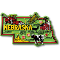 """Nebraska Colorful State Magnet by Classic Magnets, 3.9"""" x 2.3"""", Collectible Souvenirs Made in the USA"""